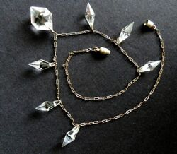 Victorian Crystal Prisms Dangle Necklace W Delicate Sterling Silver Chain