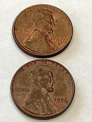 2 Of Lot Us Coin 1956 D And P 1 One Cent Penny Lincoln Wheat Circulated Km 132