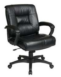 Office Star Ex5161-g13 Leather Executive Chair, 19 To 22-1/2, Loop Arms, Black