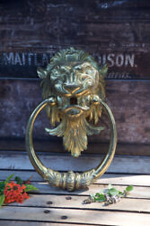 Huge Vintage 13andrdquo Brass Lion Head Wall Hanger 4 Towels Curtains Or