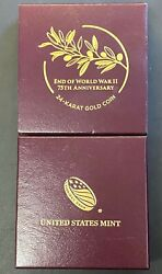 2020-w End Of World War Ii 75th Anniversary 1/2ozt .9999 Gold Coin Ogp And Coa