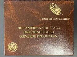 2013-w 1ozt Reverse Proof Gold American Buffalo Coin Ogp And Coa Key Date Coin