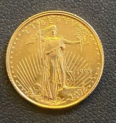 1999-w Emergency Issue 5 1/10ozt. American Gold Eagle Coin, Mint Error Coin