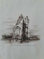 Mid C19th Pen And Ink The Seaou-koo-shan Little Orphan Rock China