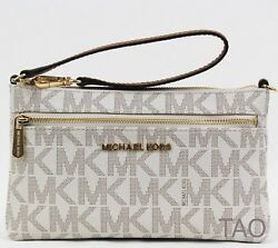 Michael Kors Jet Set Travel Top Zip Wristlet Wallet Signature PVC Vanilla New $55.95
