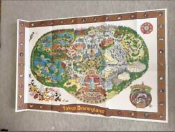 Tokyo Disneyland Map Poster 80s Rare Collectible Mickey And Friends F/s From Jpn