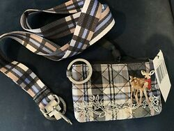 Vera Bradley Zip Id Case In Cozy Plaid Neutral And Matching Wide Lanyardnwt