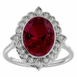 14k Gold 1.75 Carat Oval Shape Ruby And Halo Diamond Ring In 3 Gold Colors