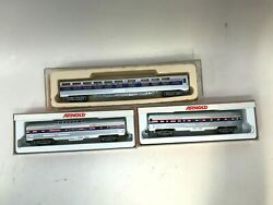 Amtrak N Scale Arnold 5411 Train And 5431 Passenger + Con Cor Phase 4 Sleeper Car