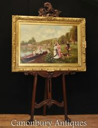 Victorian Oil Painting Punting On The Cam - Cambridge River Scene Portrait