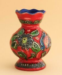 Vintage Colorful,majolica Vase Poured Ceramics Germany1960s Of The Last Century.