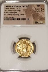 Roman Empire Leo I Solidus Ngc Ms 5/5 Ancient Gold Coin
