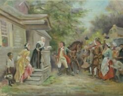 Mysterious Antique Oil On Canvas Painting Of A Civil Or Revolutionary War Scene
