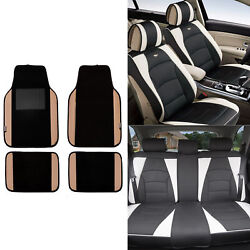 Pu Leather Seat Covers Car Suv Truck Black White With Beige Black Floor Mats