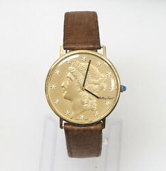 Vintage 18k Gold Mathey-tissot Liberty Coin Watch 34mm Manual Wind Watch