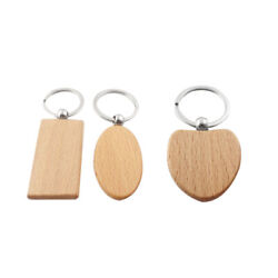 30x20pcs Blank Wooden Key Chain Diy Wood Keychains Key Tags Gifts Yellow S8n1