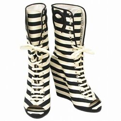 Authentic Striped Short Heel Boots Shoes Women Ladies 36 Black White Coco
