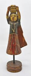 Antique Wooden Woman With Pot Figurine Original Old Hand Carved Painted