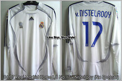 Real Madrid 06/07 Home Match Worn Issued Shirt And039v. Nistelrooyand039 La Liga Sponsor