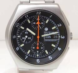 Tutima Military Chrono Automatic Menand039s Watch Day-date Ss Black Dial Analog