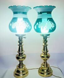 2 Vintage Heavy Brass Hurricane Lamp Green/blue Glass Hand Painted Shade 29