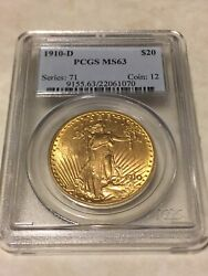 1910-d Ms63 Pcgs Saint Gaudens Double Eagle 20 Gold Coin Great Appeal Obl