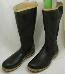 Sperry Top-sider Black Rubber Boots Mens Size 9 13 1/2 Shaft Very Good