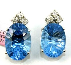 Natural Huge Oval Blue Topaz And Diamond Stud Earrings 14k White Gold 26.0ct