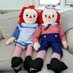 Vintage Applause 48 4ft Dancing Raggedy Anne And Andy Stuffed Dolls. With Tags