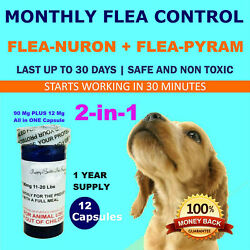 1 Year Supply 12 Capsules 2 In 1 Monthly Flea Control 90mg+12mg Dogs 11-20lbs