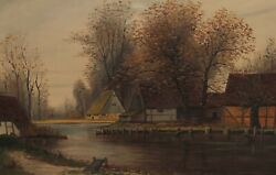 Signed F Hetzer - View From Houses At One River