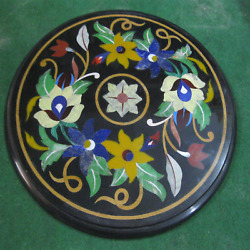 15x15 Anniversary Gift Black Marble Round Dining Table Top