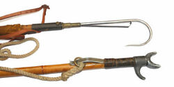 2 Vintage Hardy Bamboo Shaft Combined Wading Staff And Gaffs, Use Or Display