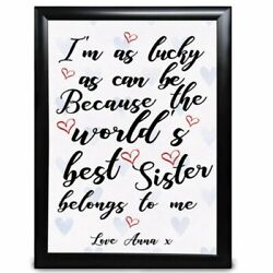 Personalised Sister Gift Iand039m As Lucky As Can Be Birthday Christmas Thank You