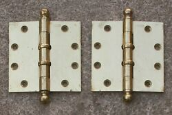 2 Avail Pair 4.5x4.5 Antique Vintage Old Brass Steel Exterior Door Ball Hinges