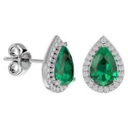 14k Gold 2.50 Carat Emerald And Diamond Pear Shape Earrings- In 3 Gold Colors
