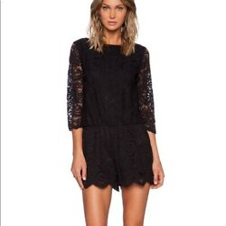 Michael Stars Black Lace Romper Playsuit 3/4 Sleeves Size Small Revolve Boat