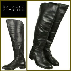 Barneys New York Womens Riding Boots Sz Eur 36/us 6m Black Leather Made In Italy