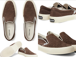 Tom Ford Cambridge Woven Suede Loafers Slippers Shoes Slip On Shoes Sneakers 44