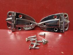 2 Vint Amerock Mid Century Deco Chrome Heavy 3/8andrdquo Offset Cabinet Hinges And Screws