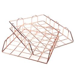 30x1 Set Of 2 Office Supplies Metal Stackable File Document Letter Tray