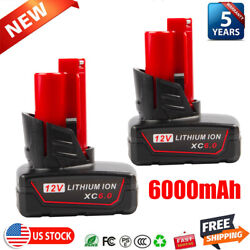 2x For Milwaukee M18 Lithium Xc 6.0ah 18v Extended Capacity Battery 48-11-1860