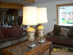 Lamps 2 Vintage Stunning Lavender Gold Lace And Enamel Floral Overlay Table Lamps