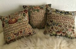 SET OF 3 SMALL 8 X 8 COUNTRY DECORATOR TAPESTRY PILLOWS THE ALPHABET ZIP ACCESS