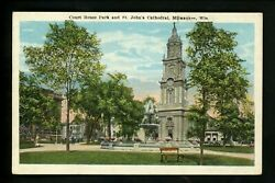 Wisconsin Wi Postcard Milwaukee, Court House Park St. Johns Cathedral