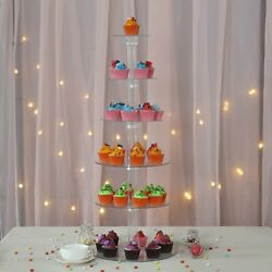 6 Tier Acrylic Crystal Glass Clear Cupcake Dessert Decorating Stand For Weddings