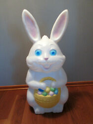 Vintage Empire Plastic Lighted Blow Mold Easter Bunny With Basket - 34 Tall.