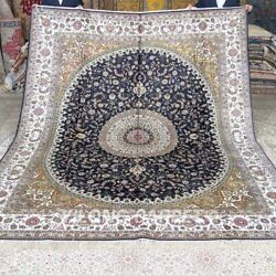 Yilong 8'x10' Blue Handmade Carpets Silk Antique Hand Knotted Area Rug M279c