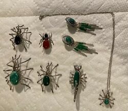 Vintage Insect Jewelry Set Costume Spencer Sterling Silver Navajo Themed