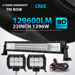 Tri Row 22inch 1296w + 4 18w Led Light Bar Combo For Jeep Offroad Driving Lamp